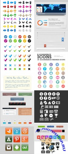 Social Web Design Elements Set