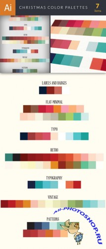 7 Christmas Color Palettes - Vector Elements