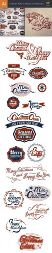 Christmas Labels & Badges Set - Winter Elements