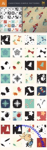 Vector Christmas Simple Patterns Set - Winter Elements