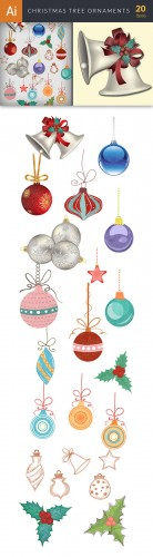 Vector Christmas Tree Ornaments Set - Winter Elements