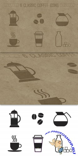 6 Classic Coffee Icons Vector Template