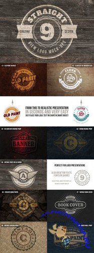 9 Straight View Logo Mock-Up Templates