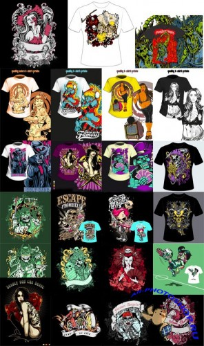 25 Amazing T-Shirt Design Vector Set - Fotolia