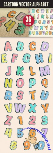 Cartoon Vector Alphabet Adobe Illustration