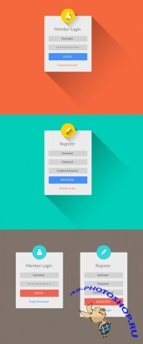 Flat Long Shadow Login & Register UI PSD Template
