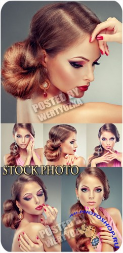 Beautiful girl, trendy makeup and stylish hairstyle - stock photo