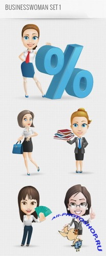 Business Woman Vector Character PSD Template
