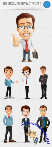 Business Man Vector Character PSD Template #2