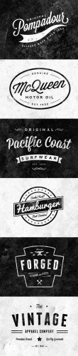 6 Customizable Retro/Vintage Logos & Emblems PSD Template
