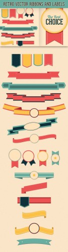 Designtnt - Retro Vector Ribbons Labels