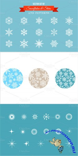 Vector Set Snowflakes Stars and Icons