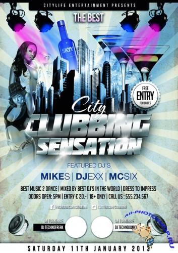 �ity �lubbing Sensations Flyer Template