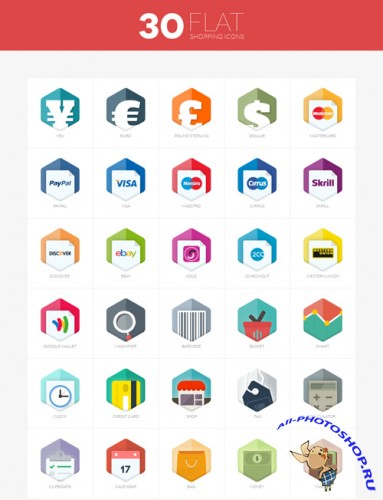 30 Flat Shopping Icons PSD