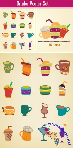 Designtnt - Drinks Vector Set 2