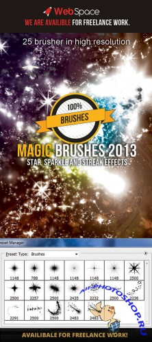 Magic Sparkle and Streak Effects Photoshop Brushes