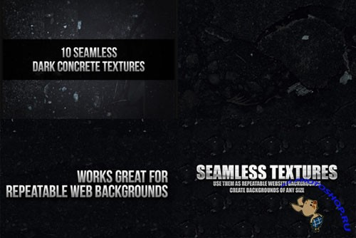 10 Seamless Dark Concrete Texture PSD Template