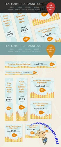 Designtnt - Flat Marketing Banner Set