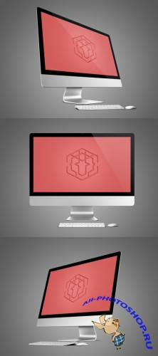 3 Computer Mock-Up Templates PSD