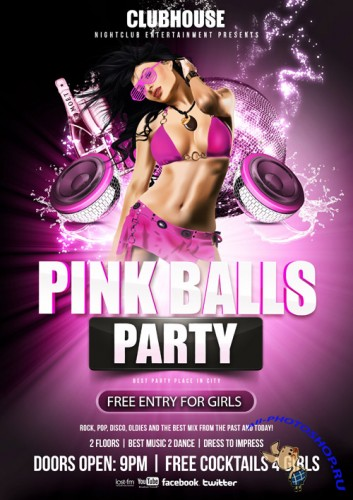 Pink Balls Party Flyer Template PSD