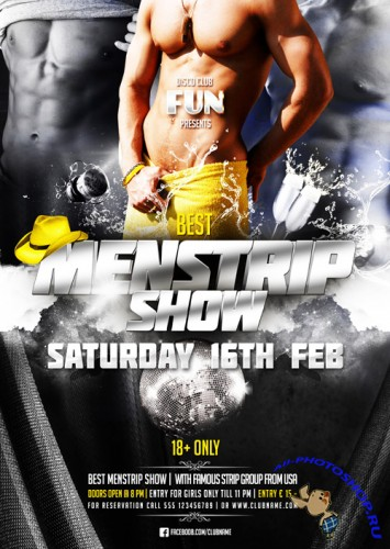 Menstrip Show Party Flyer Template PSD