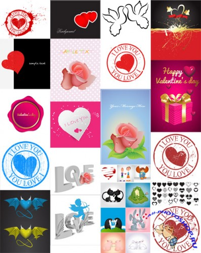 20 Valentine Vector Elements Set