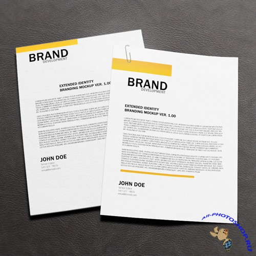Letterhead Mock-up Template PSD