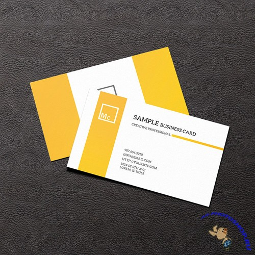 Business Card Mock-up on Leather Background PSD