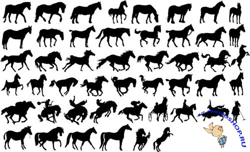 Vector Clipart Horses Shapes