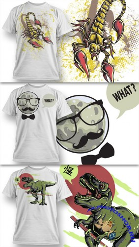 T-Shirt Design Vector Illustrations Pack 8
