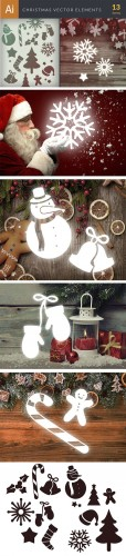 Simple Christmas Vector Elements Set 1