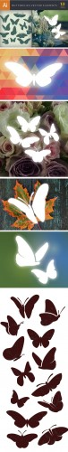 Simple Butterflies Vector Set 4
