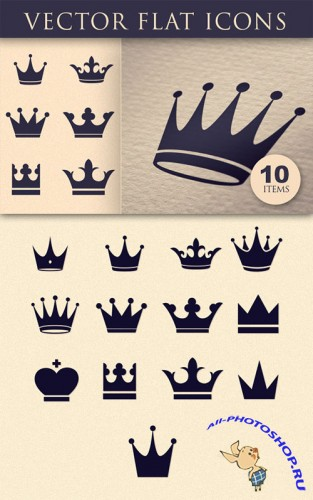 Flat Crown Icons Vector Elements Pack 2