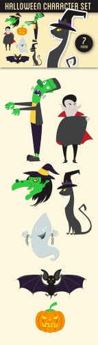Halloween Characters Vector Illustrations Pack 1