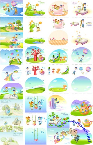 20 Cartoon Illustrations - Education Vector Set
