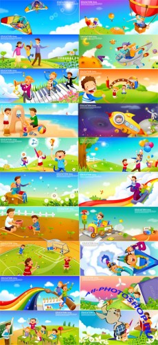 40 Vector Kids Illustrations - Education Time