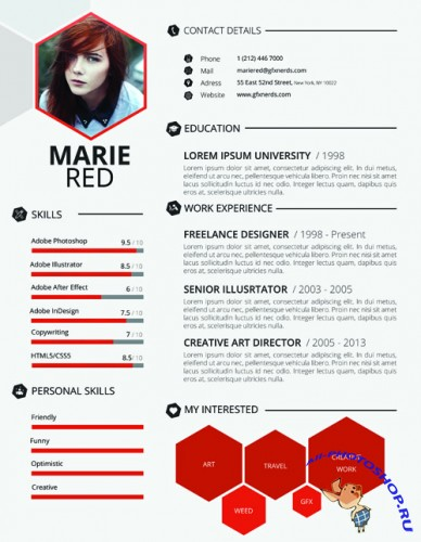 Red Resume Template PSD