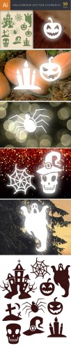 Simple Halloween Vector Elements Set 1