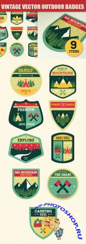 Vintage Outdoor Camp Badges Vector Elements Pack 1