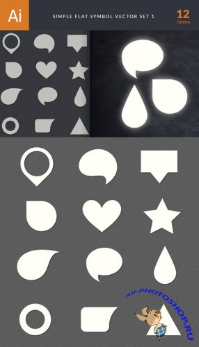 Simple Flat Symbols Vector Illustrations Pack 1