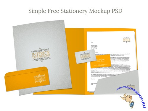 Simple Stationery Mockup PSD