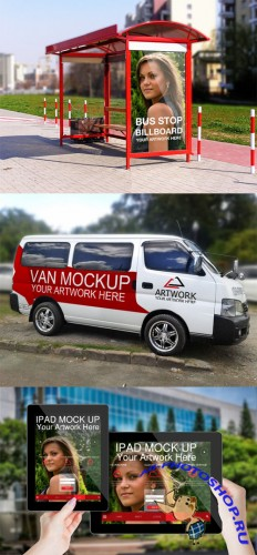 3 Branding Templates - Van, Billboard and Ipad Mock ups PSD
