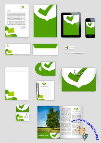 Eco Corporate Identity Mock up Template PSD