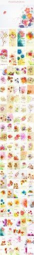 100 Floral Vector Illustrations Bundle