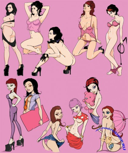 Pinup Girls Vector Clipart