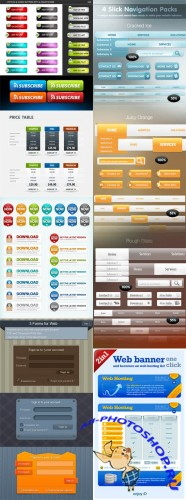 7 Web Element Templates Set PSD