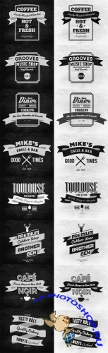 Typography Ribbon Insignias Vector Set