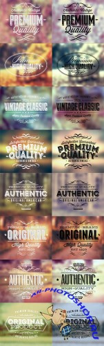 Typographic Text Labels Vector set
