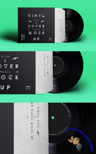 Vinyl Record and Cover Presentation Mock-up
