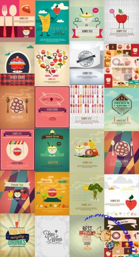 25 Food and Drink Vector Illustrations Set 1